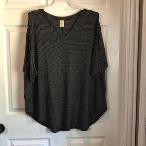 Black stripped open shoulder top